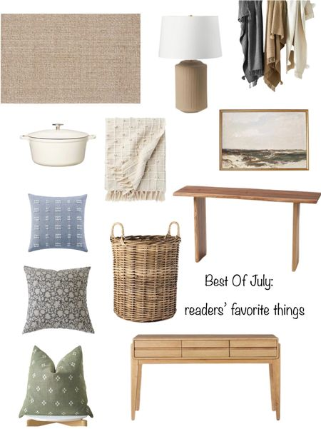 Reader's favorite things from July. Console tables, decorative pillows, Target baskets and decor, Pottery Barn rug, artwork.   #LTKhome #LTKunder50 #LTKunder100