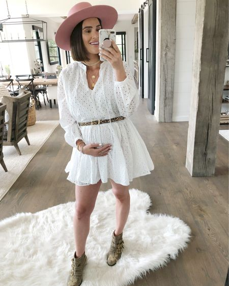 """F A S H I O N // Fresh white eyelet lace dress for only $60! (Wear a size 6) I used a fun leo belt to bring in my """"waist"""" and show off my baby bump!🤰🏻☺️ Paired the dress with western booties and hat for a lil' country flare!👩🏻🌾 Shop everything from this #ootd including all my jewels, here on the @liketoknow.it app!  #sbkliving #liketkit #dress #maternity #maternityfashion #pregnancy #booties #hat #LTKbump #bumpfashion #LTKunder100 #LTKunder50 #LTKstyletip // http://liketk.it/2Ecct"""