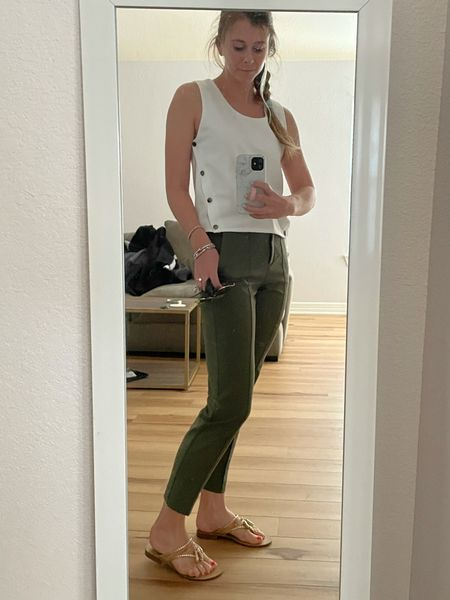 Ankle work pants with a classic white tank!