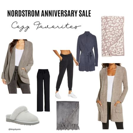 Nordstrom Anniversary Sale cozy favorites are perfect for fall and winter snuggle up in the barefoot dreams blanket or cozy cardigan and slide your feet into these super soft ugg slippers #nsale   #LTKsalealert #LTKstyletip #LTKshoecrush