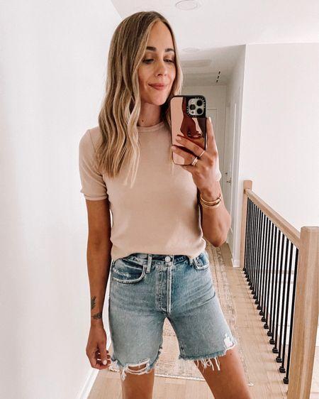 Love the longer length denim shorts (tts) and this tan ribbed tshirt for summer (tts / small) #shopbop #beachvacation #summeroutfit #denimshorts http://liketk.it/3hjmx #liketkit @liketoknow.it #LTKstyletip #LTKunder100 #LTKunder50
