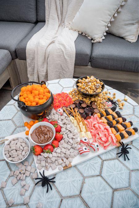 Halloween snack board, Halloween decor, charcuterie board, serving Board, Amazon Home finds, marble decor   #LTKhome