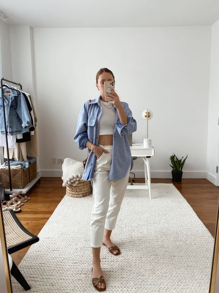 Resharing an outfit from earlier this spring with my favorite Abercrombie ultra high rise 80s jeans (TTS) and a blue shirt jacket (linked a similar one included in the Nordstrom Anniversary Sale.   #LTKstyletip #LTKunder50 #LTKSeasonal