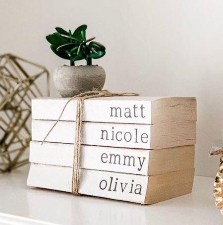 ETSY SMALL BUSINESS SATURDAY • personalized home decor book stack, gift for mom, family gifts   #LTKhome #LTKsalealert #LTKgiftspo