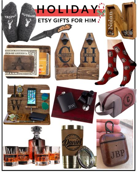 Gifts for him. Men's gift guide. Etsy gifts. Personalized Christmas presents. Holiday. // http://liketk.it/31Eid @liketoknow.it #liketkit #LTKfamily #LTKunder100
