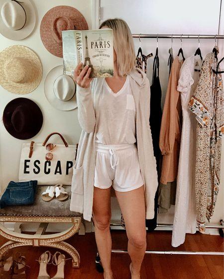 Cute loungewear for lazy mornings! The Barefoot Dreams cardigan is so soft, definitely worth the splurge. The sleep shorts and tank are both under $30! http://liketk.it/2Ec3d @liketoknow.it #liketkit #LTKunder50 #LTKstyletip Nordstrom, casual, cozy, sleepwear