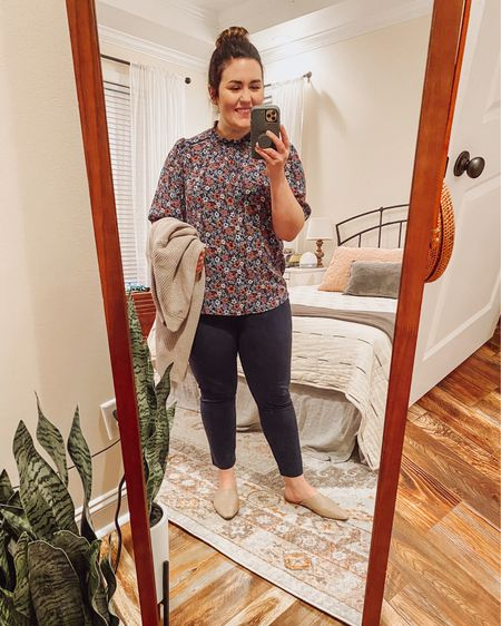 Is this an outfit repeat? Yes.  Yes, it is.  I love this shirt!  It's perfect for a busy morning.  #LTKfit #LTKSeasonal