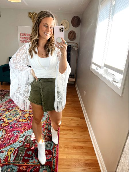 This top would be perfect for a brides bachelorette party! The white top I have underneath is a workout top from amazon! My skort is free people and I linked some of my favorite white booties for fall  #LTKshoecrush #LTKstyletip #LTKwedding