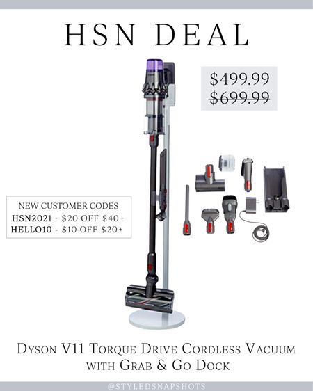 HSN Deal! Dyson V11 cordless Vacuum with grab and go dock with accessories is on sale for $499, normally $699! New customers use code HSN2021 for $20 off $40+ or HELLO10 for $10 off $20+    #LTKhome #LTKsalealert #HSNInfluencer
