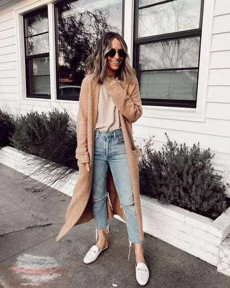 Casual fall outfit  Straight leg denim (went up one size)  Long coatigan (this is old Jenni kayne, lining a similar option)    #LTKstyletip