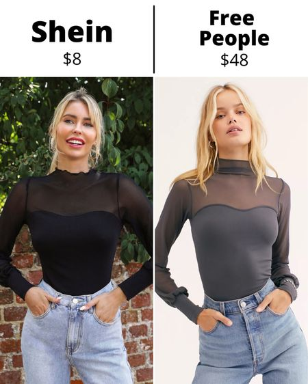 Get Spring Break ready with a mesh long sleeve to pair with jeans or a mini skirt. Free People Light Up Layering Top available in 14 colors for $48. SHEIN Sheer Mesh Yoke Lettuce-Edge Trim Top available in Black for $8.   #LTKunder50 #LTKsalealert #LTKcurves