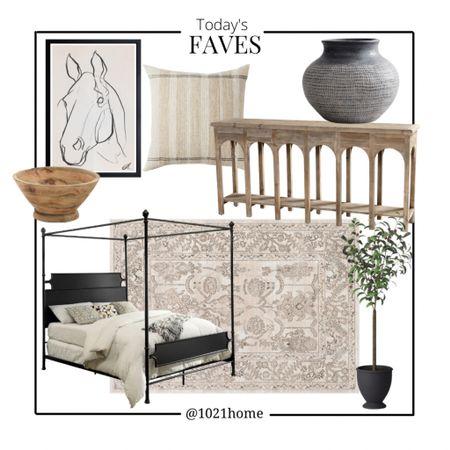 Bedroom, bed, console table, rug, art, vase, topiary, entry, pottery barn, Wayfair, Walmart    http://liketk.it/3f9X1 #liketkit / @liketoknow.it #LTKhome #LTKsalealert #LTKstyletip @liketoknow.it.home