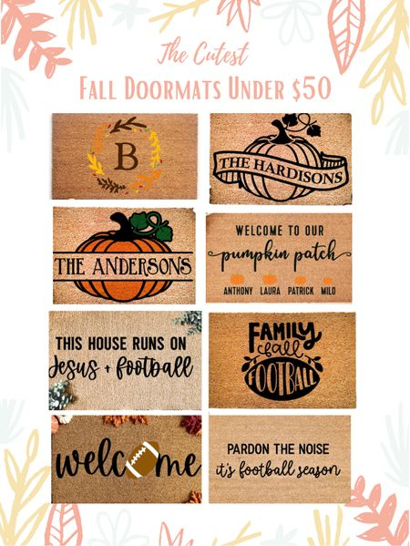Fall doormat, doormats, fall decor, personalized doormats, football doormats, welcome mat, autumn doormats, front porch decor, entryway decor, thanksgiving doormats, holiday doormats, pumpkin doormat  🎃 Head to EMPTYNESTBLESSED.com to check out more fall doormats under $50, and discover the new trend everyone is talking about!   #LTKhome #LTKunder50 #LTKSeasonal