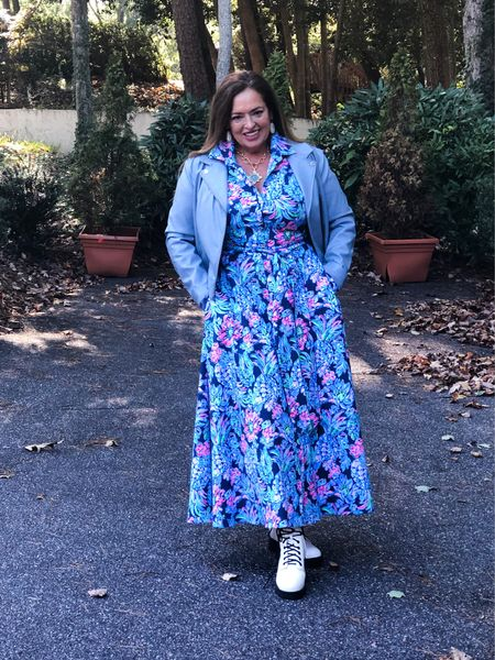 Styling this gorgeous @lillypulitzer shirt dress street style…  Combat boots in white are so fun with lighter and brighter colors… I added a soft blue moto jacket.   Swipe to see it dressed up with my navy velvet sandals. Perfect for brunch, Church or a wedding.. Do you have a pair of combat boots? And do you have them in a fun color?   #LTKGiftGuide #LTKHoliday #LTKstyletip