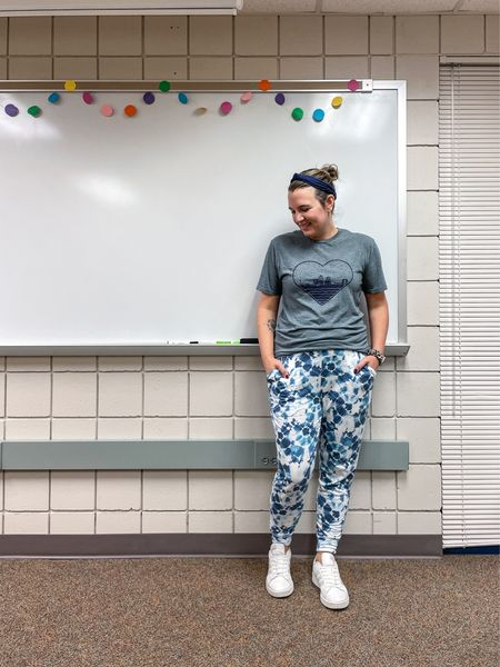 I'm pretty sure teachers like pajama day more than the students.   Cozy joggers, a graphic tee, easy sneakers and hair up with a headband. A great way to start the week!