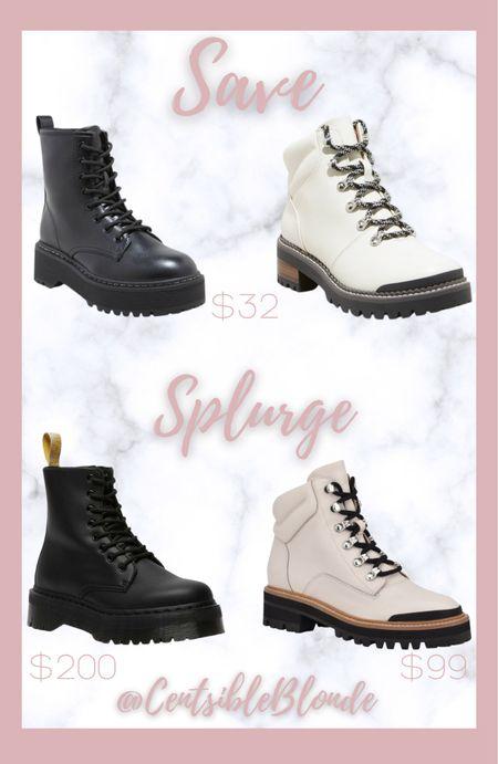 Save vs. Splurge  Affordable boots Winter boots Fall boots Target boots Combat boots Lug boots   #LTKunder50 #LTKSeasonal #LTKshoecrush