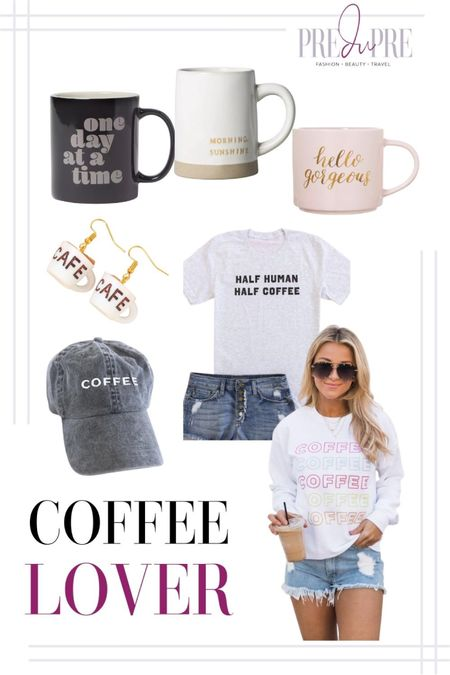 This is for the coffee lovers out there. Enjoy your cup of joe with these cute items. ☕️  national coffee day, coffee lover, cap, tshirt, tee, shirt, graphic tee, sweatshirt, earrings, coffee mugs, mugs  #LTKGiftGuide #LTKunder50 #LTKSeasonal