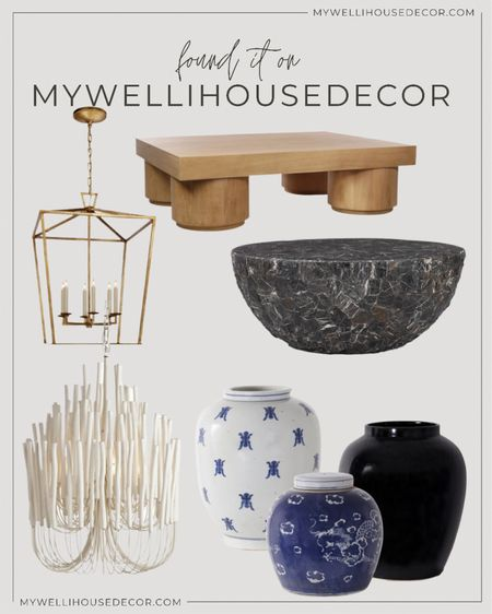 Alice Lane Home favorites 🤩 Pieces like this will give your living spaces that WOW factor!   Use my code MYWELLIHOUSEDECOR for 10% off  Coffee table, ginger jars, light fixtures, pendant light  #LTKhome #LTKsalealert