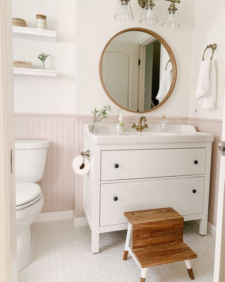 Bathroom Reno is complete ✨ perfect for little sister!  Wall Paint: Sherwin Williams Dove White (top) Abalone Shell (at 70%) (bottom).  Vanity is IKEA and we switched out the faucet. http://liketk.it/39Uwk #liketkit @liketoknow.it