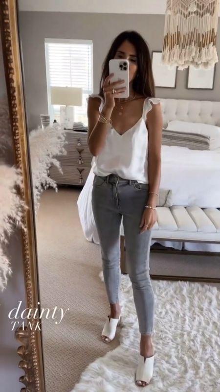 Date night outfit, date night inspired look, date night style, white tank, jeans, summer look, StylinByAylin   #LTKunder100 #LTKSeasonal #LTKstyletip
