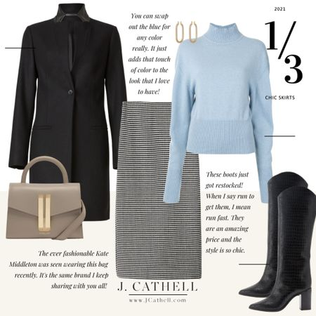 Looking to update your workwear with pieces you can wear outside of work? Try one of these skirts! They could easily be converted to a more business like look, but are still so chic without feeling stuffy.   Don't miss out on the handbag from the the first look. It's the same bag Kate Middleton was recently seen wearing and I love it!   #LTKSeasonal #LTKHoliday #LTKworkwear