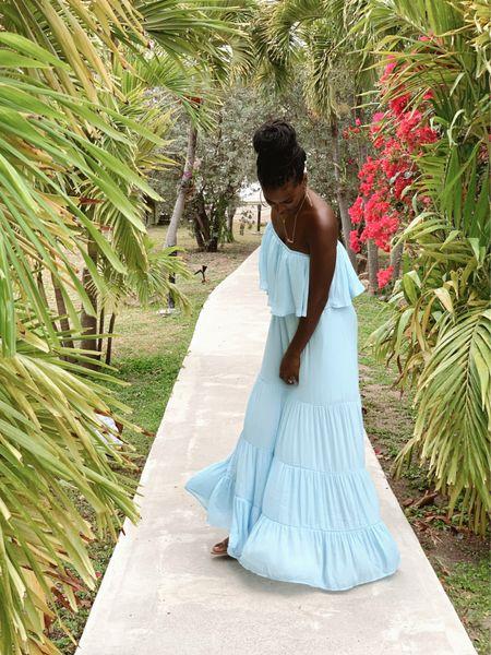 Summer dresses  Blue, maxi dress, off the shoulder, one shoulder, bump friendly, maternity, under50   #LTKstyletip #LTKDay #LTKSeasonal