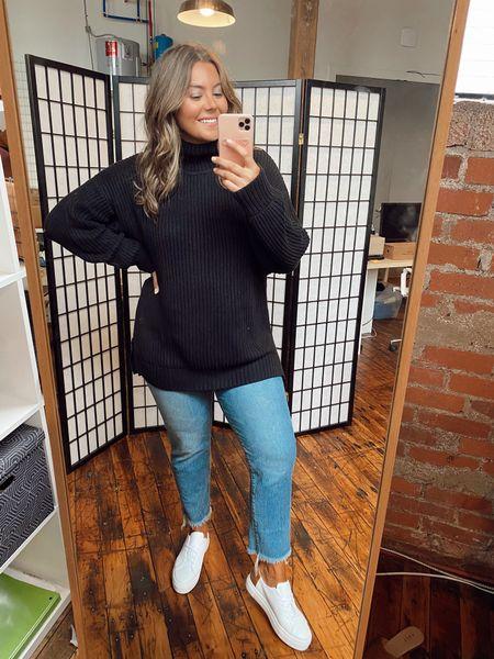 Oversized organic cotton turtleneck sweater - wearing XL use CARALYN25   #LTKcurves #LTKshoecrush #LTKunder100