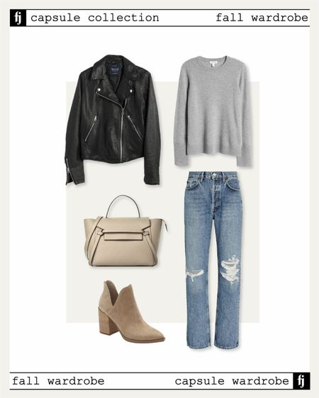 Fall capsule wardrobe! Fall outfit idea. Black leather jacket, ripped jeans, cashmere sweater, tan suede booties   #LTKstyletip #LTKunder50 #LTKunder100
