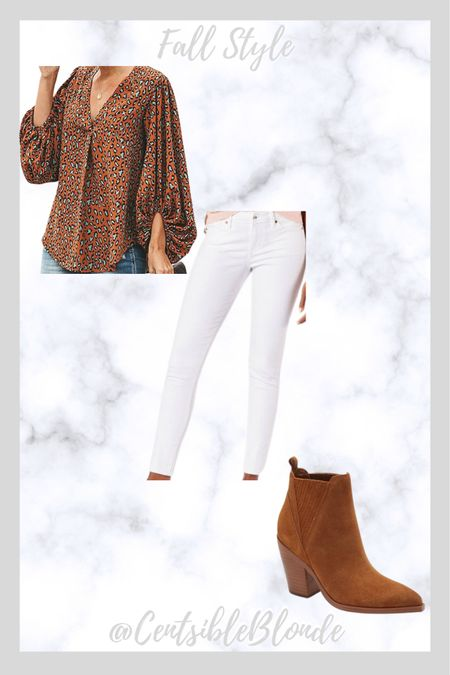 Balloon sleeve leopard top with white jeans and rust boots  Ankle boots White jeans Fall outfit Fall style    #LTKshoecrush #LTKunder50 #LTKSeasonal