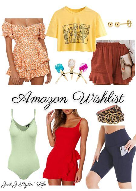 July Amazon Wishlist - fashion and home. Off shoulder floral romper, graphic crop tee, gold stud earrings, wine stoppers, sage green bodysuit, red ruffle dress, leopard belt, biker shorts. Found on Amazon. http://liketk.it/3jgyU @liketoknow.it #liketkit #LTKunder50 #LTKhome #LTKfit