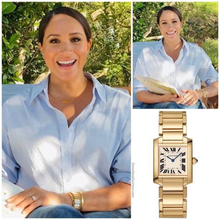 Meghan's Cartier tank watch that belonged to Princess Diana #gold #accessory #jewelry   #LTKstyletip