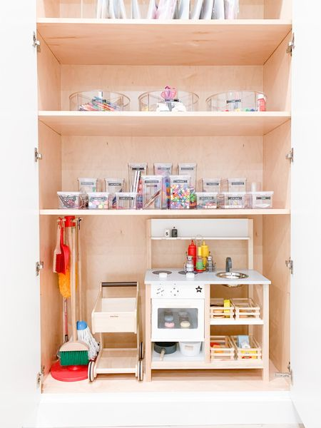 Kids play area toys organized in cabinet🌟  #LTKhome #LTKkids #LTKfamily