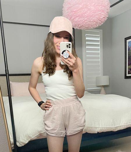 Blush pink suede hat and FAVE Amazon tank (built in padding 👏🏼) Walmart fashion Walmart find   #walmartfashion #walmart #blushpink #amazon   #LTKfamily #LTKfit #LTKstyletip