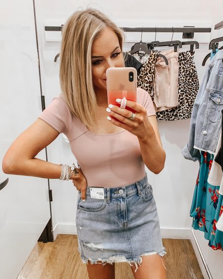 #LTKday EXPRESS try on! Save 35% on orders of $125+! 💕 **Some items are different colors in the product photo!** *Wearing XS in all tops (TTS)  except wearing a S the black tank (size up one) *wearing 0 in the skirt/denim (TTS) *wearing XS in the shorts & romper (TTS)  http://liketk.it/2CNaB @liketoknow.it #liketkit #LTKsalealert #LTKstyletip #LTKunder50 #LTKunder100 denim skirt   jean skirt   bodysuit   summer fashion   summer outfit