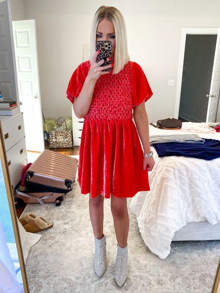 Family Christmas pictures dress, family Christmas photos, red velvet dress, rhinestone booties! Size: XS  #LTKHoliday #LTKfamily #LTKSeasonal