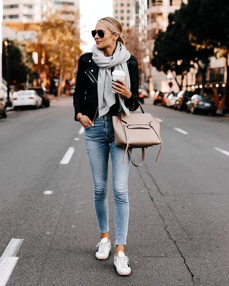 Fall essentials #leatherjacket #sneakers #scarf #goldengoose #falloutfit   #LTKstyletip #LTKunder100 #LTKshoecrush
