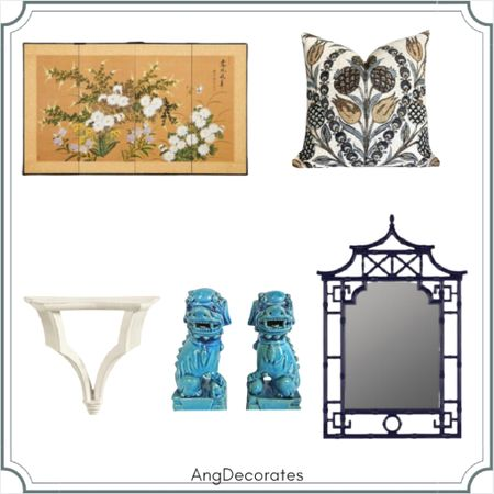 Sharing some of my favorite home decor picks inspired by Maggie Griffin Design    Foo dogs chinoiserie pagoda mirror wall bracket folding screen Thibaut pillow    #LTKhome