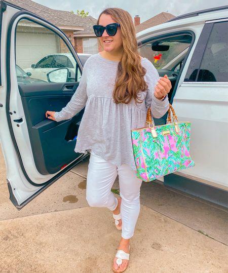 Preppy outfit cat eye sunglasses Lilly Pulitzer purse beach bag white jeans Jack Rogers sandals   #LTKunder100 #LTKSeasonal #LTKtravel