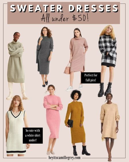 Sweater Dresses - All under $50 H&M and Target Black and white plaid, beige, sweater vests, pink, gray, mustard   #LTKstyletip #LTKunder100 #LTKunder50