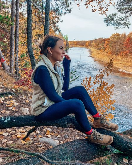 Fall hiking gear! Leggings are Aerie and the best!! Size down .5 in hiking boots // hiking puffer vest jacket sherpa fall fashion outdoors   #LTKtravel #LTKSeasonal #LTKshoecrush
