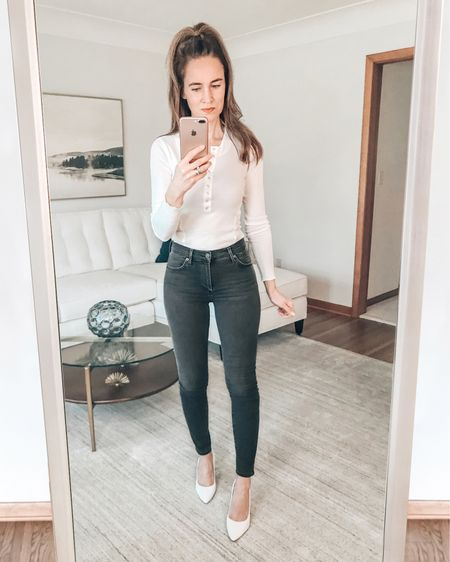 Happy Weekend!  It is snowing outside here... . Since it might be some time before I get to wear these white pumps - I thought I would style them with this new off white henley that I got (and love) and my favorite jeans. . . SHOP MY LOOK:  1️⃣ Use this link: http://liketk.it/37eoK  2️⃣ Download and follow me (@dailystylefinds) on the FREE @liketoknow.it app 3️⃣ Screenshot this photo 4️⃣ Click the link in my profile . . #styleover40 #fashionmoment #mystylediary #fashiondaily #stylebyme #stylefiles #over40blogger #styletrends #whatstrending #whatiworetoday #whowhatwearing #styleadvice #leopard #getthelook #ontrend #styleinfluencer #everydaystyle #todaysoutfit #freepeople #citizensofhumanity #springtrends #liketkit