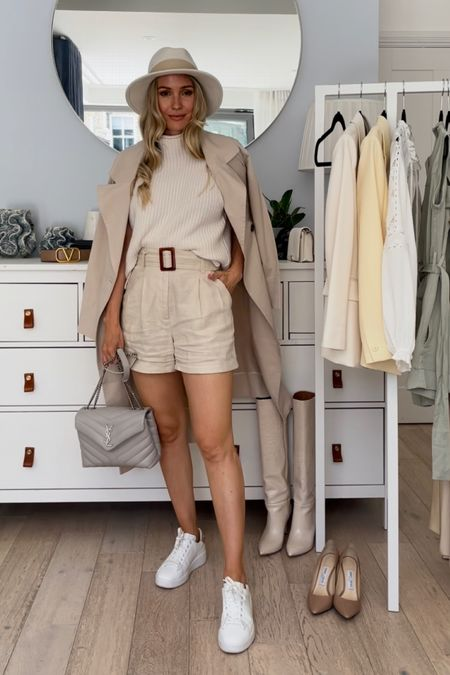 I'm 5'5 and I'm wearing size U.K. 4 in the linen shorts and US 0 in the beige trench coat.  My white pure star sneakers are true to size  My bag is the grey saint Laurent Loulou in size small   #LTKstyletip #LTKDay #LTKSeasonal