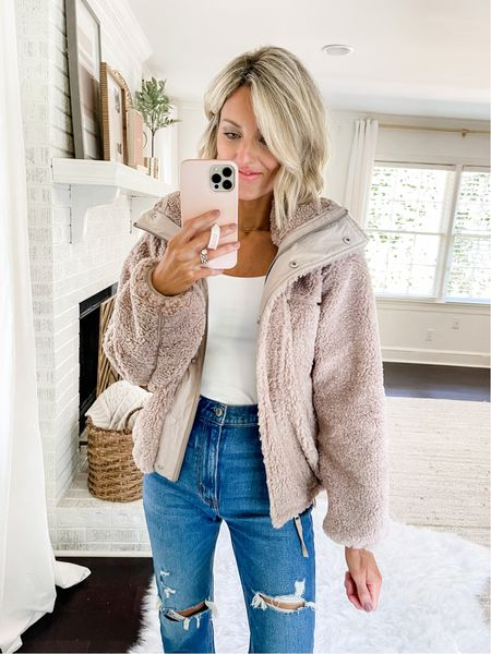 Sherpa style bomber jacket from Abercrombie - runs big. Wearing XS and felt I could have size down even with something layered underneath! Currently on sale!   #LTKsalealert #LTKstyletip #LTKSeasonal