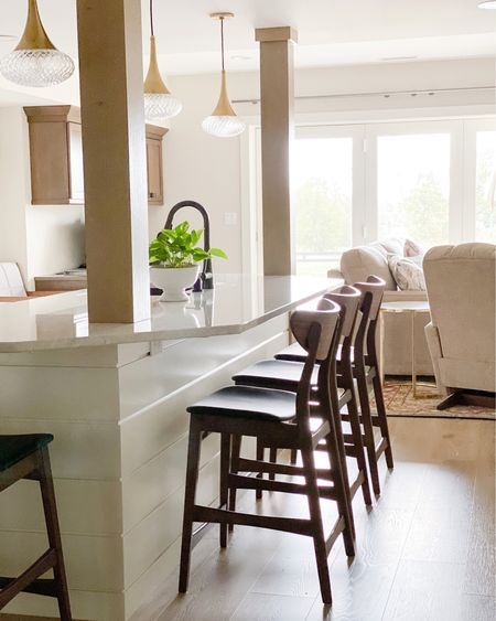 Mid-Century Modern Pendant Lights and Counter Stool, Modern Contemporary kitchen and budget-friendly Counter Stools, Brass Island Lights Mitzi by Hudson Valley Lighting http://liketk.it/2Z70a #liketkit @liketoknow.it #StayHomeWithLTK @liketoknow.it.home