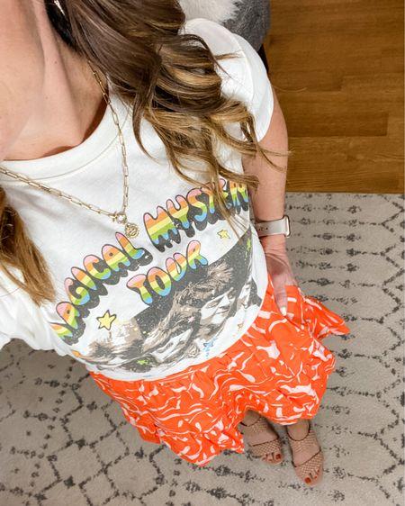 Summer style, Target Finds, floral skirt, midi skirt, graphic tee, mom style, Autumn color style.    http://liketk.it/3gVSD #liketkit @liketoknow.it #LTKunder50 #LTKshoecrush