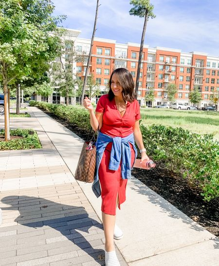 Here is one of my go to outfits for running errands, grabbing brunch with friends, and date night. Just add heels instead of my go to white Native brand water shoes. This button down red dress runs tts    #LTKunder100 #LTKunder50 #LTKsalealert