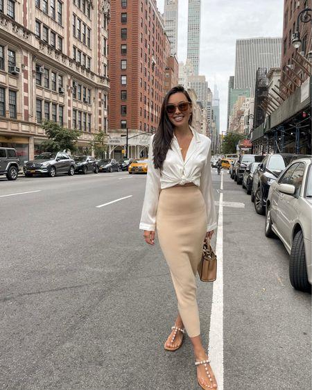 Silk blouse and knit midi skirt. Ronny Kobo skirt runs small so size up! http://liketk.it/3hu9Z #liketkit @liketoknow.it #knitskirt #midiskirt