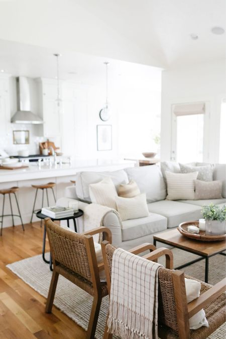 Living room decor inspiration. Loving the soft colors of the pillow covers with the white walls and wood accents.    #LTKunder50 #LTKunder100 #LTKhome