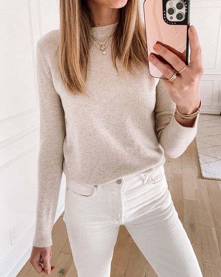 This Vince sweater from the #nsale is one of my favorite purchases every year. I love the light beige color and it works so well with white jeans for end of summer.   #LTKsalealert #LTKstyletip #LTKunder100