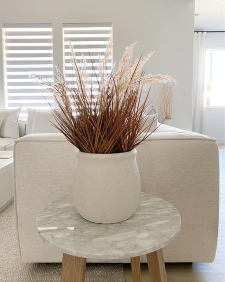 Fall basket arrangement. Home staging arrangement. Marble side table. Arhaus sectional sofa.   #LTKSeasonal #LTKstyletip #LTKsalealert